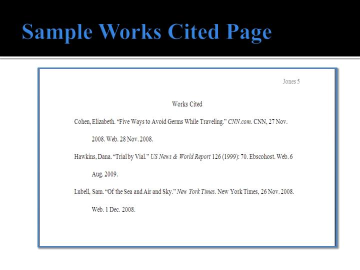Sample works cited page