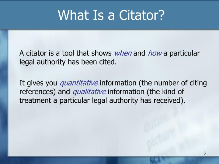 What Is a Citator?