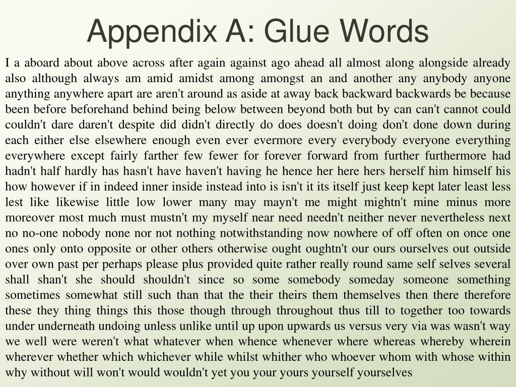 Appendix A: Glue Words
