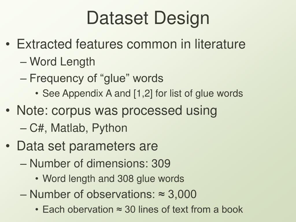 Dataset Design
