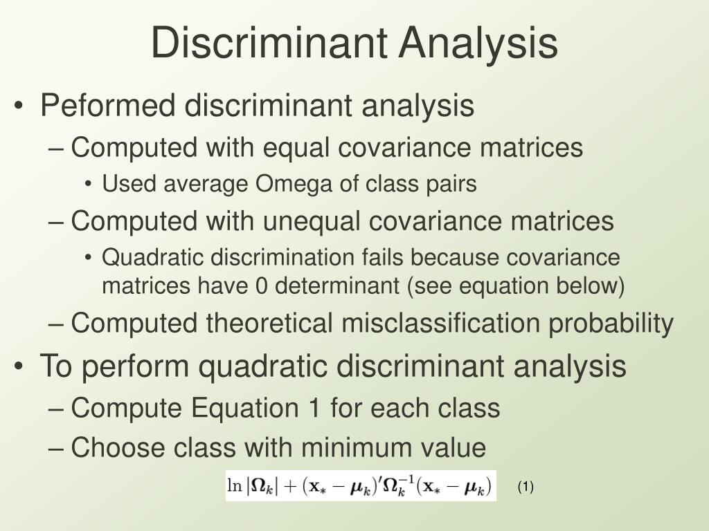 Discriminant Analysis