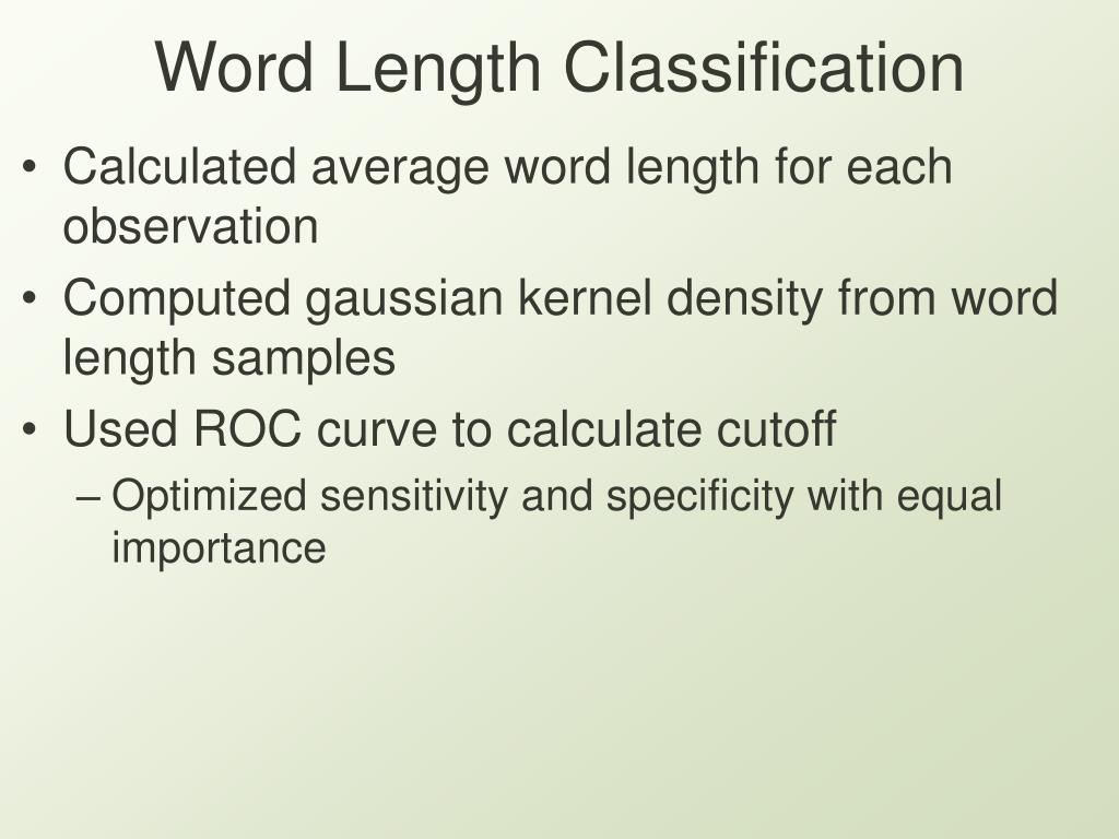 Word Length Classification