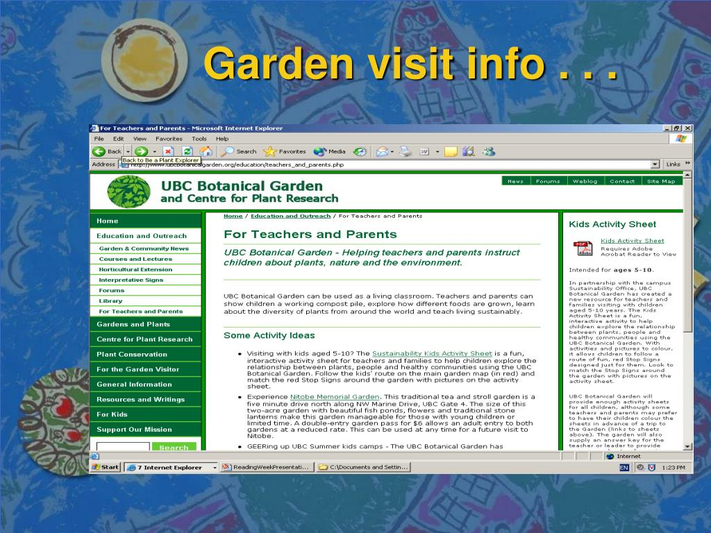 Garden visit info . . .