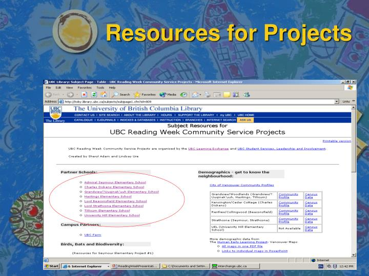 Resources for projects l.jpg