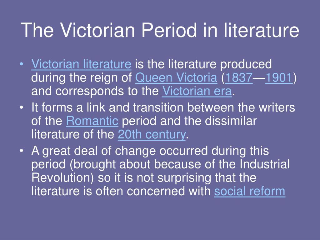The Victorian Period in literature