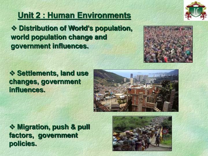 Unit 2 : Human Environments