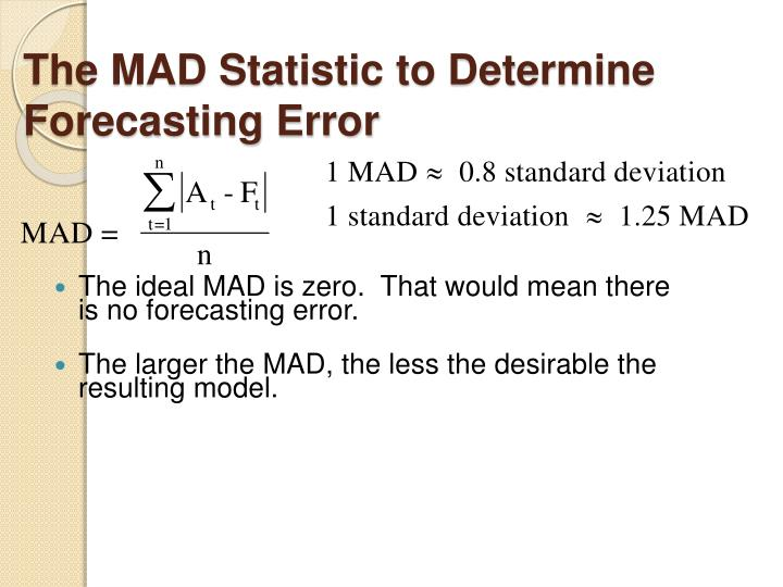The MAD Statistic to Determine Forecasting Error