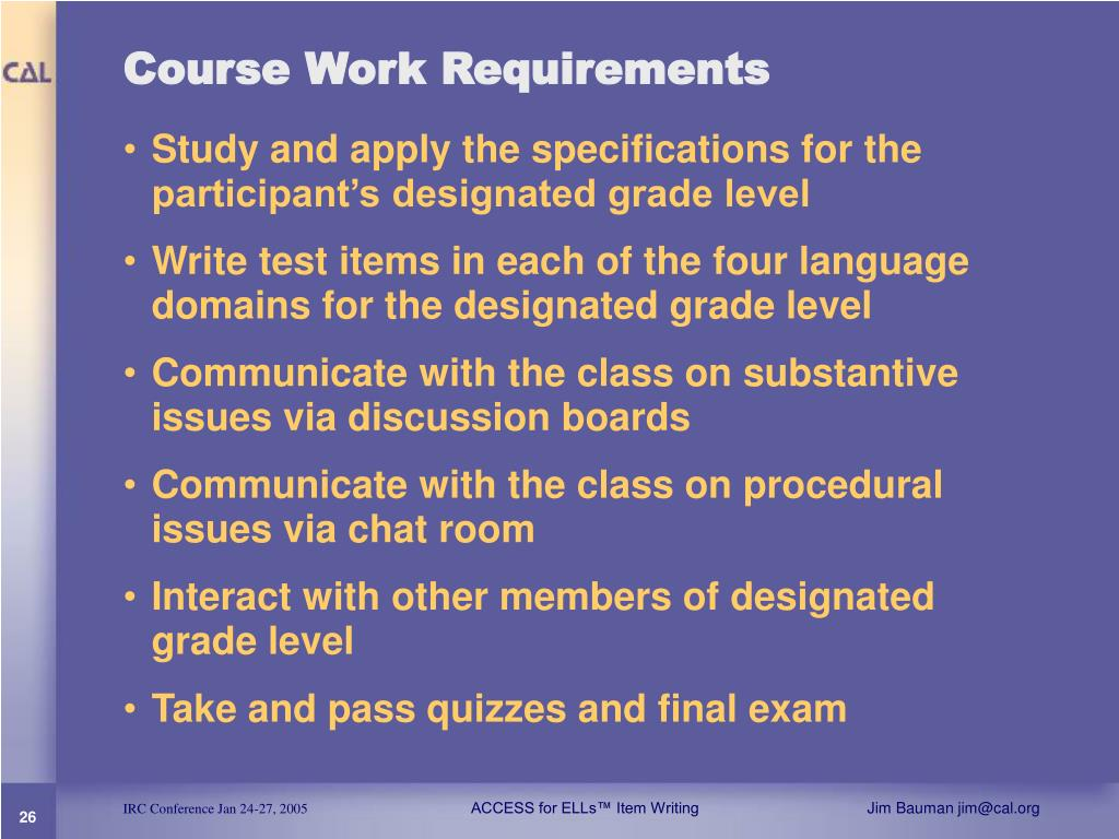Course Work Requirements