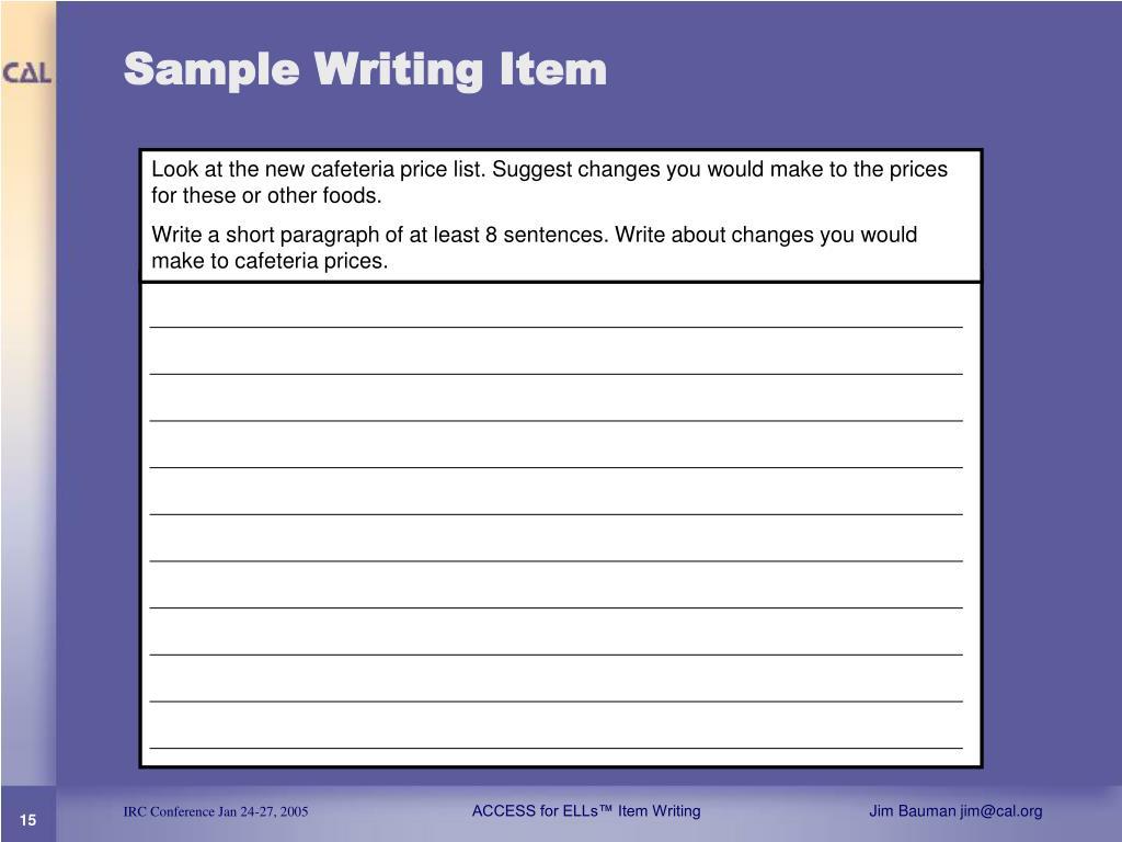 Sample Writing Item