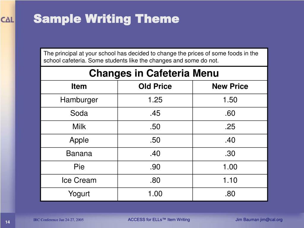 Sample Writing Theme