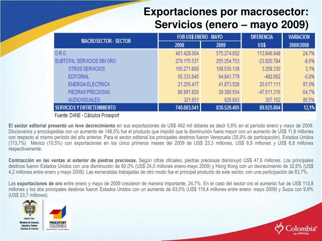 Exportaciones por macrosector: