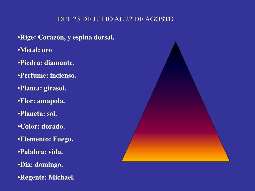 DEL 23 DE JULIO AL 22 DE AGOSTO