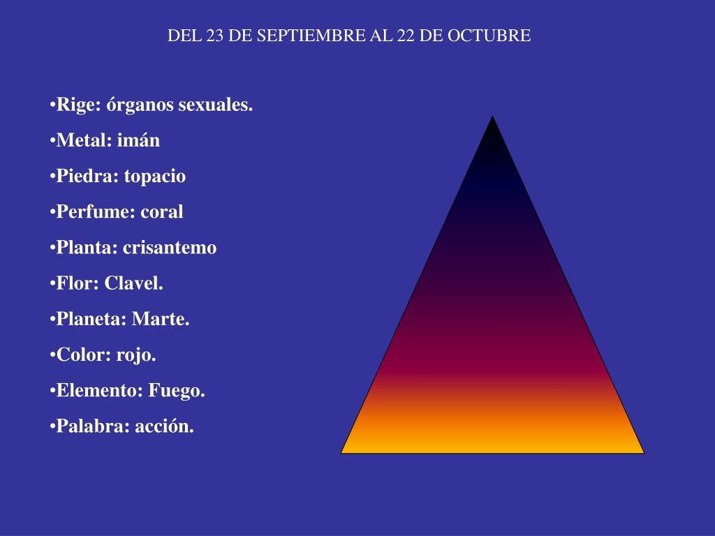 DEL 23 DE SEPTIEMBRE AL 22 DE OCTUBRE