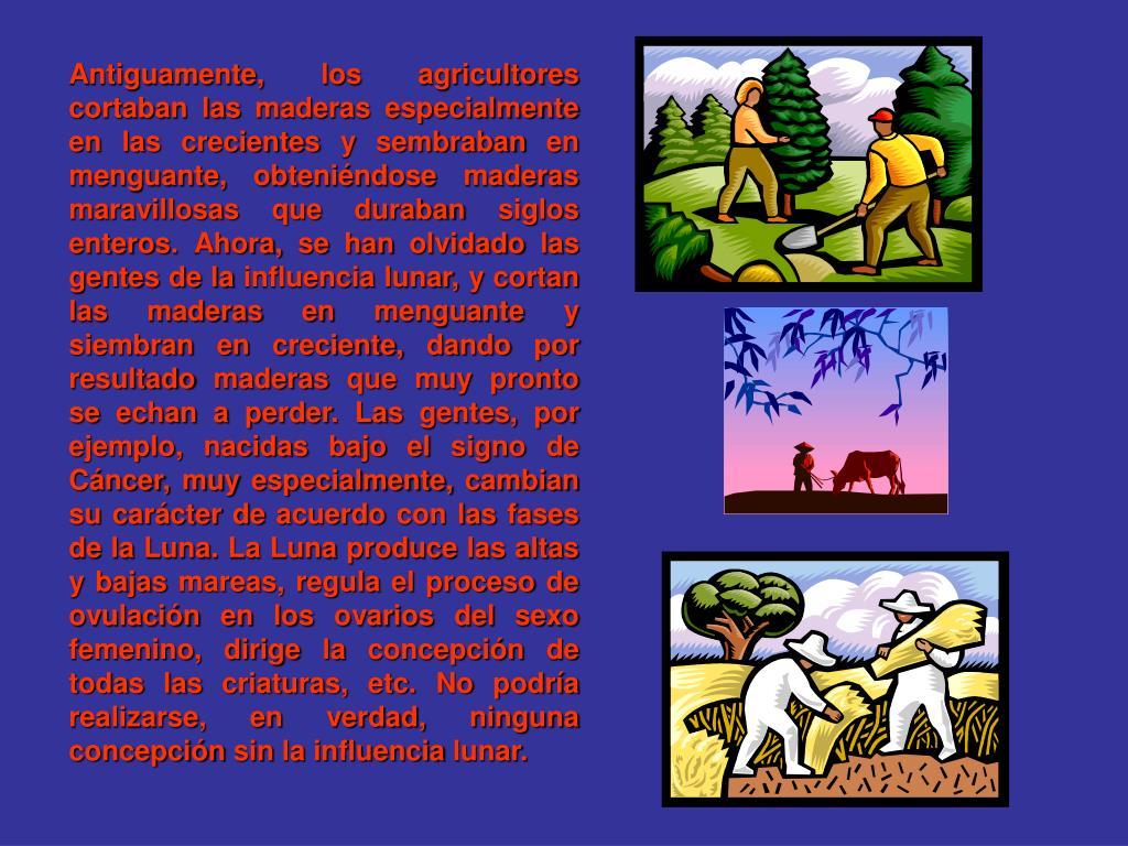 Antiguamente, los agricultores cortaban las maderas especialmente en las crecientes y sembraban en menguante, obteniéndose maderas maravillosas que duraban siglos enteros. Ahora, se han olvidado las gentes de la influencia lunar, y cortan las maderas en menguante y siembran en creciente, dando por resultado maderas que muy pronto se echan a perder. Las gentes, por ejemplo, nacidas bajo el signo de Cáncer, muy especialmente, cambian su carácter de acuerdo con las fases de la Luna. La Luna produce las altas y bajas mareas, regula el proceso de ovulación en los ovarios del sexo femenino, dirige la concepción de todas las criaturas, etc. No podría realizarse, en verdad, ninguna concepción sin la influencia lunar.