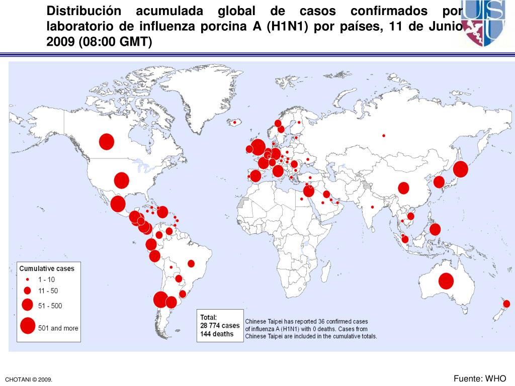 Distribución acumulada global de casos confirmados por laboratorio de influenza porcina A (H1N1) por países, 11 de Junio 2009 (08:00 GMT)