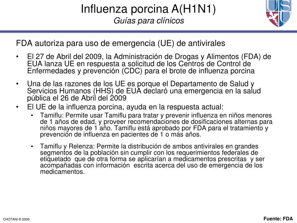 FDA autoriza para uso de emergencia (UE) de antivirales