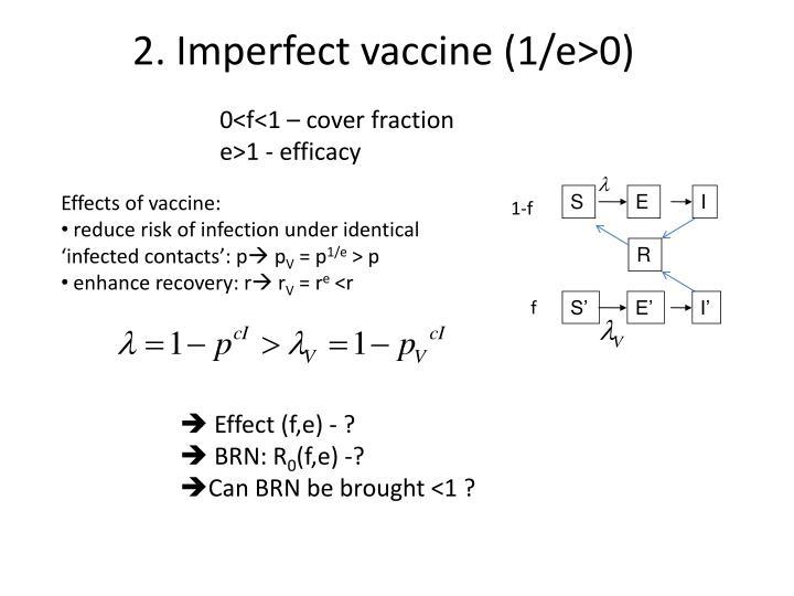 2. Imperfect vaccine (1/e>0)