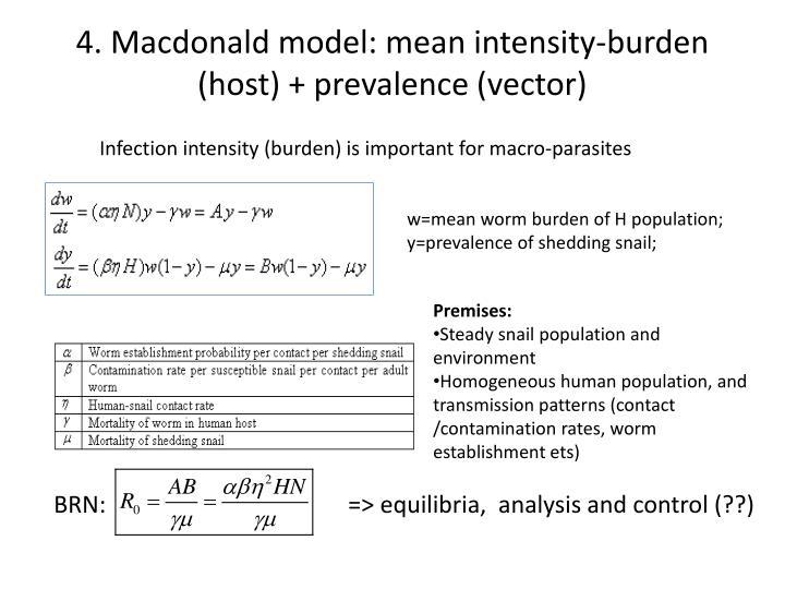4. Macdonald model: mean intensity-burden (host) + prevalence (vector)