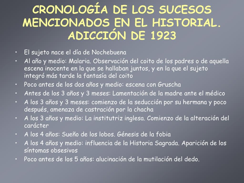 CRONOLOGÍA DE LOS SUCESOS MENCIONADOS EN EL HISTORIAL. ADICCIÓN DE 1923