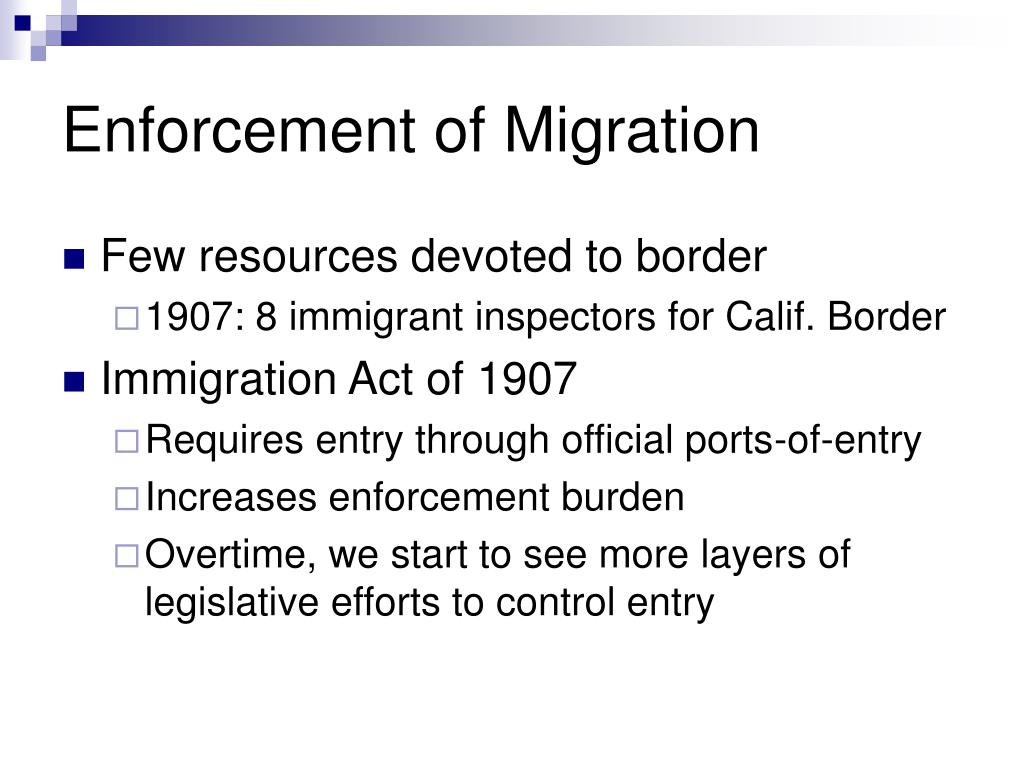 Enforcement of Migration