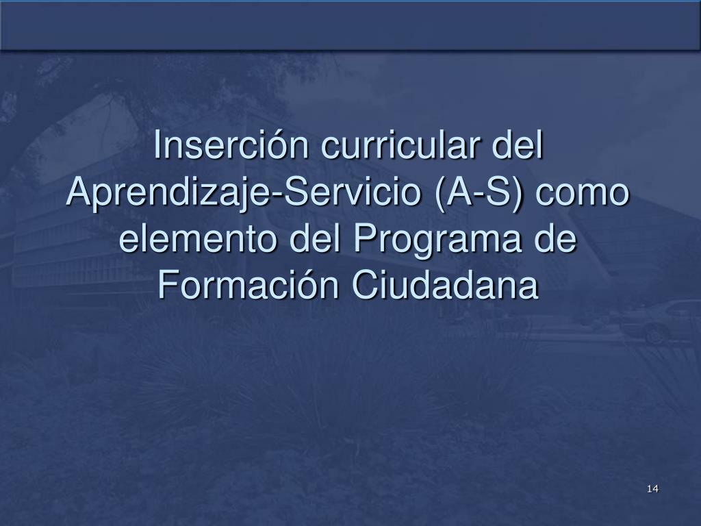 Inserción curricular del Aprendizaje-Servicio (A-S) como elemento del Programa de Formación Ciudadana