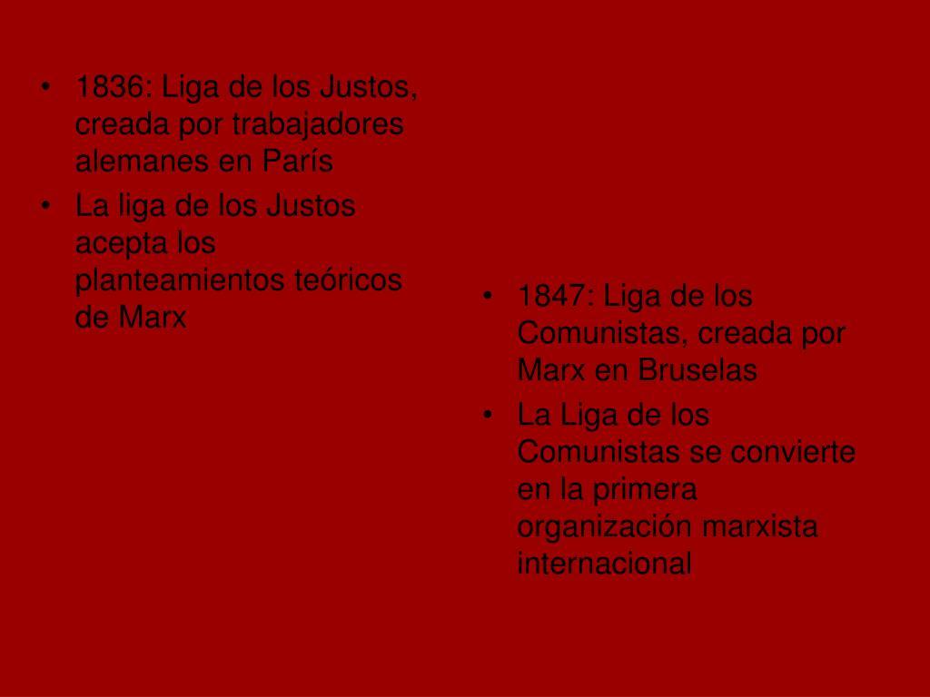 1836: Liga de los Justos, creada por trabajadores alemanes en París