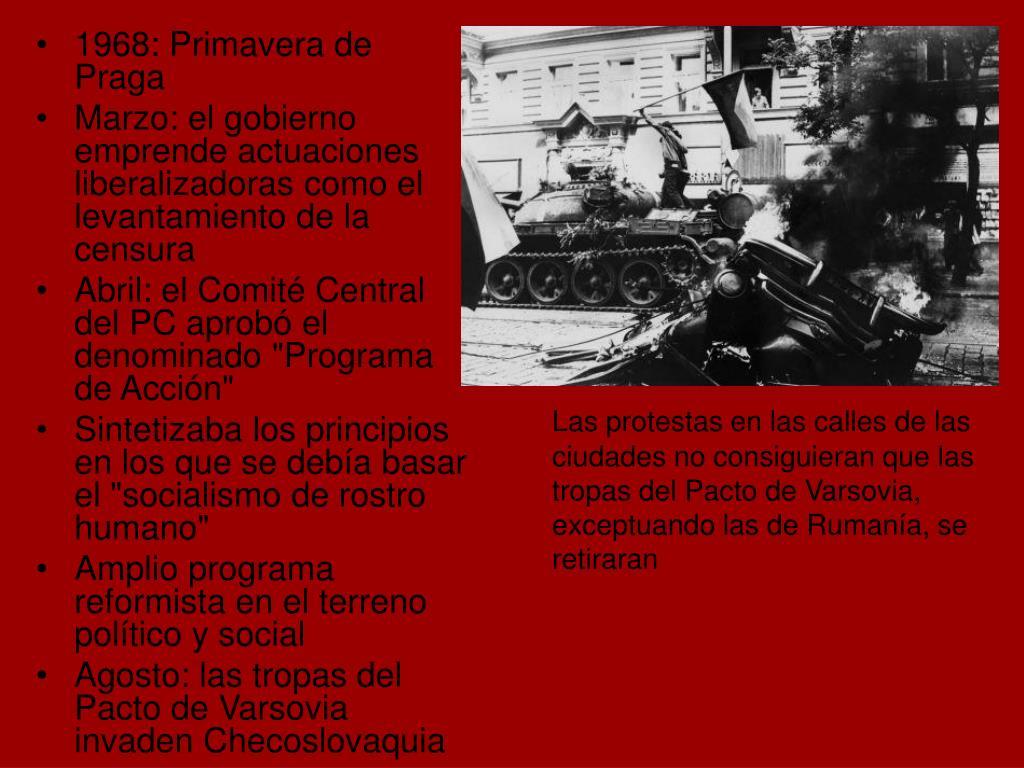 Las protestas en las calles de las ciudades no consiguieran que las tropas del Pacto de Varsovia, exceptuando las de Rumanía, se retiraran