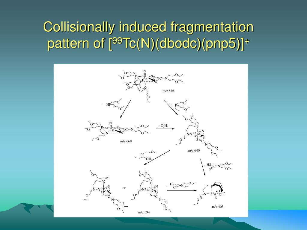 Collisionally induced fragmentation pattern of [