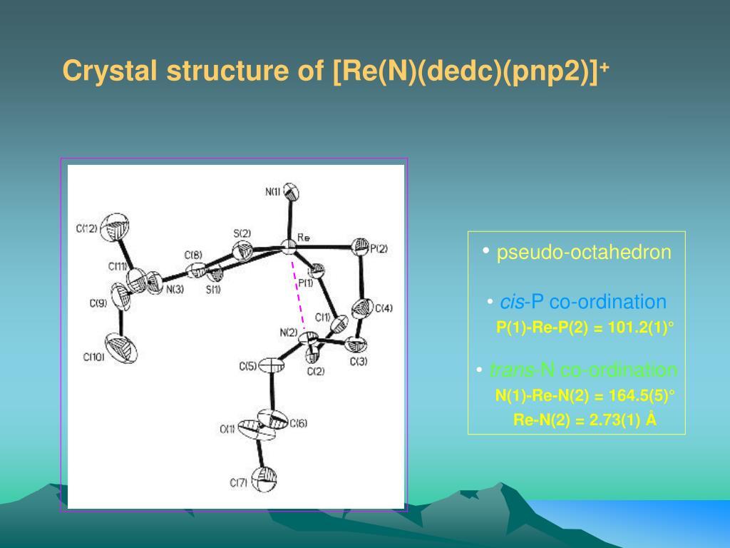 Crystal structure of [Re(N)(dedc)(pnp2)]