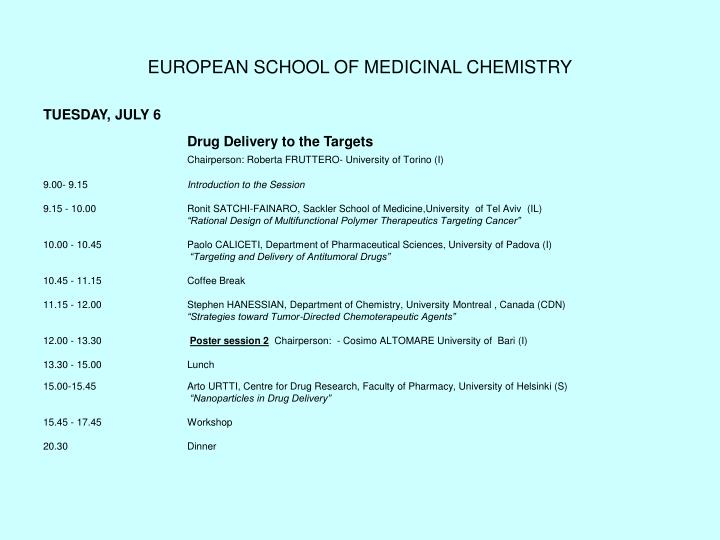 European school of medicinal chemistry3