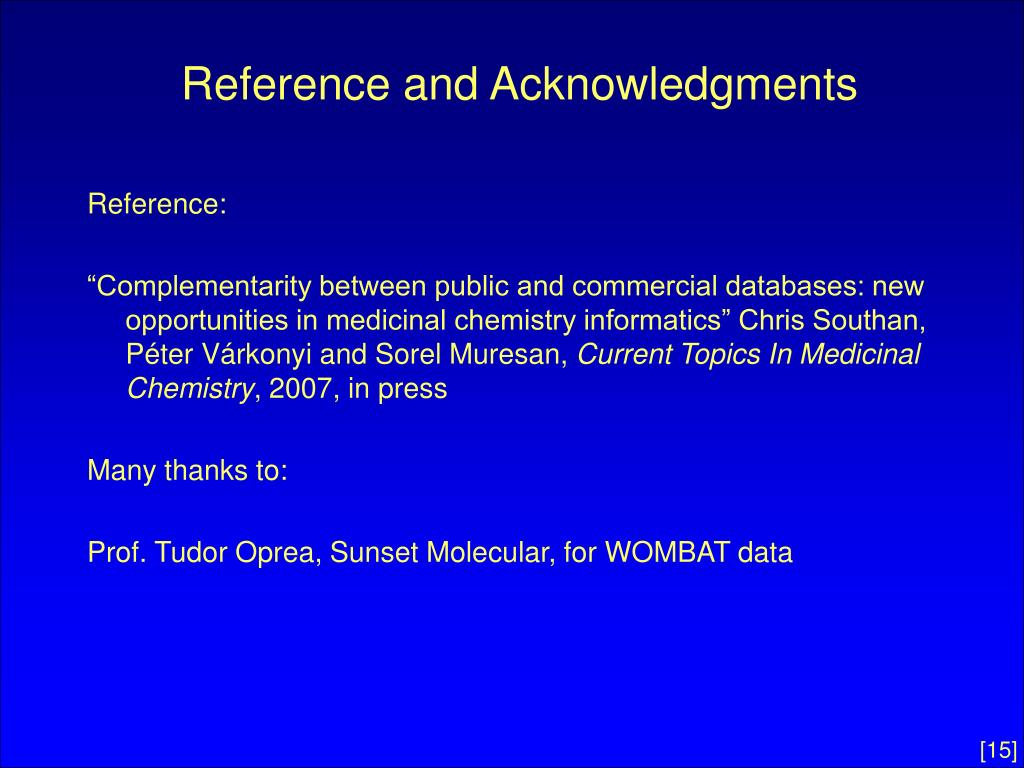 Reference and Acknowledgments