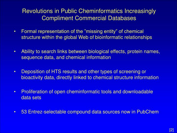Revolutions in public cheminformatics increasingly compliment commercial databases l.jpg