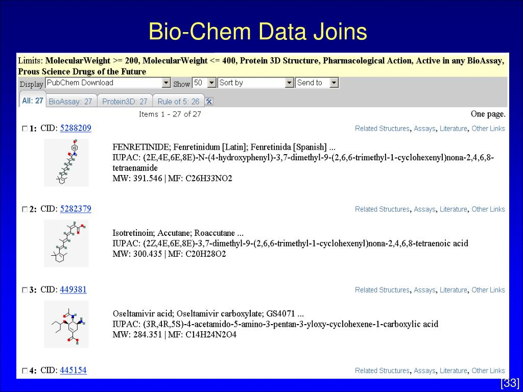 Bio-Chem Data Joins
