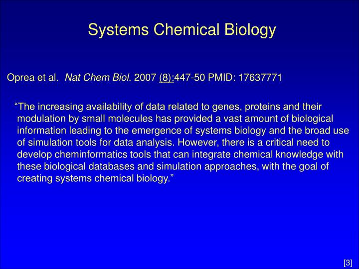 Systems chemical biology