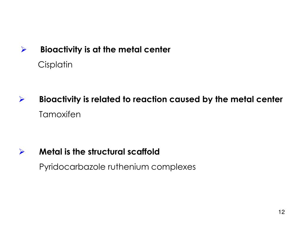 Bioactivity is at the metal center