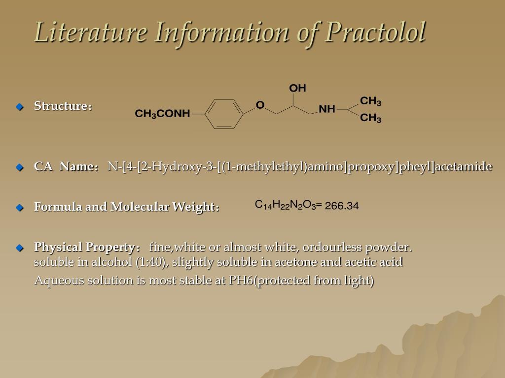Literature Information of Practolol