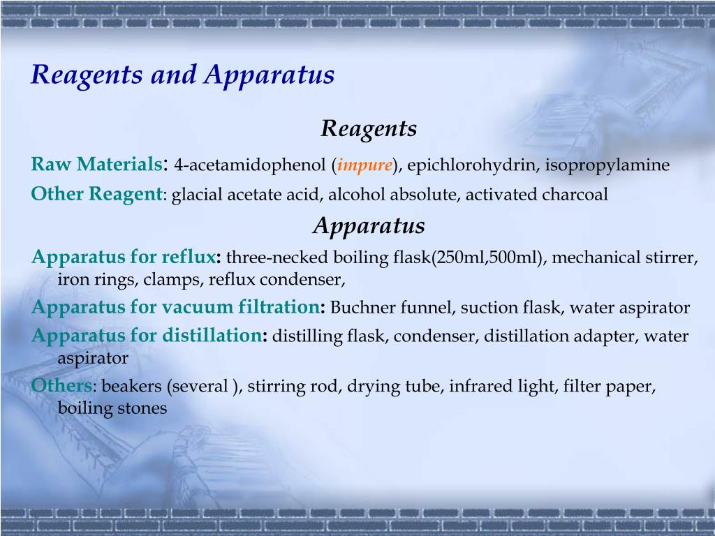 Reagents and Apparatus