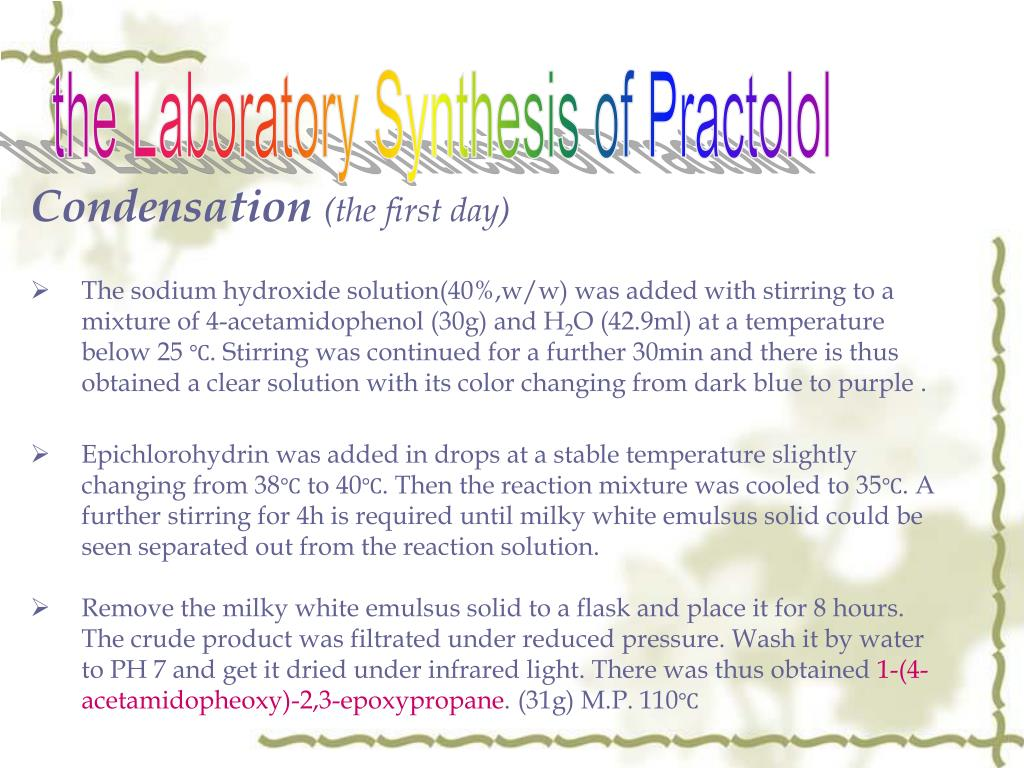 the Laboratory Synthesis of Practolol