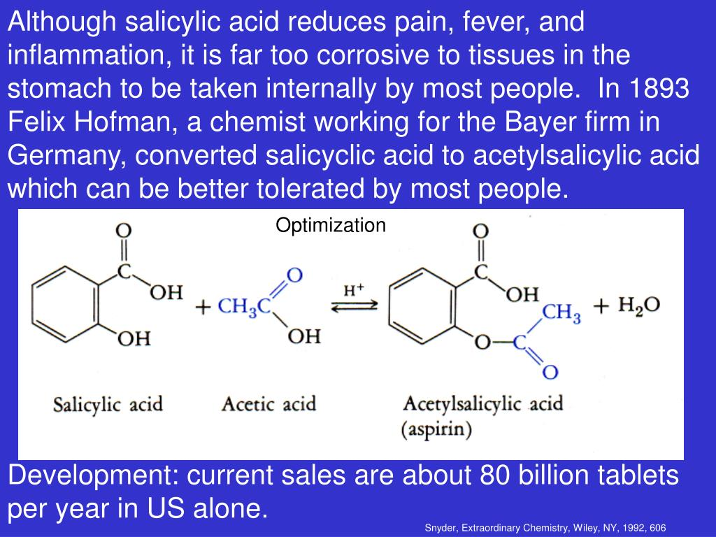 Although salicylic acid reduces pain, fever, and inflammation, it is far too corrosive to tissues in the stomach to be taken internally by most people.  In 1893 Felix Hofman, a chemist working for the Bayer firm in Germany, converted salicyclic acid to acetylsalicylic acid which can be better tolerated by most people.