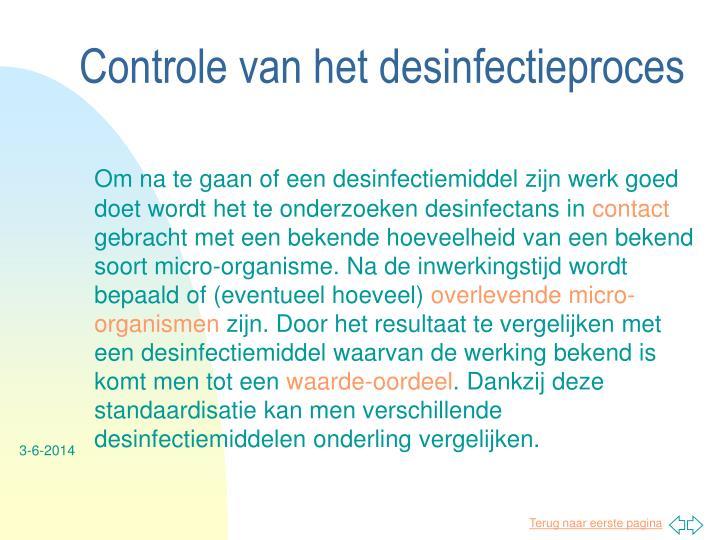 Controle van het desinfectieproces