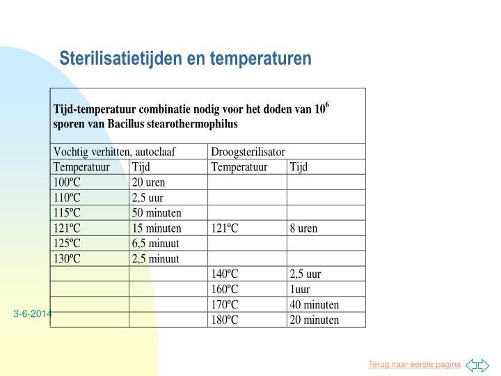 Sterilisatietijden en temperaturen