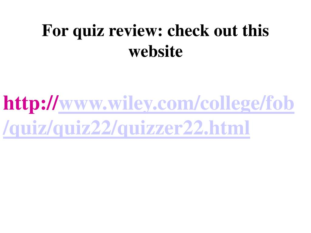 For quiz review: check out this