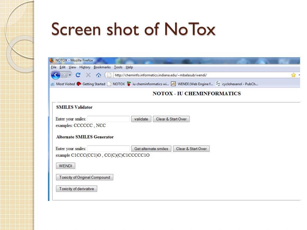 Screen shot of NoTox