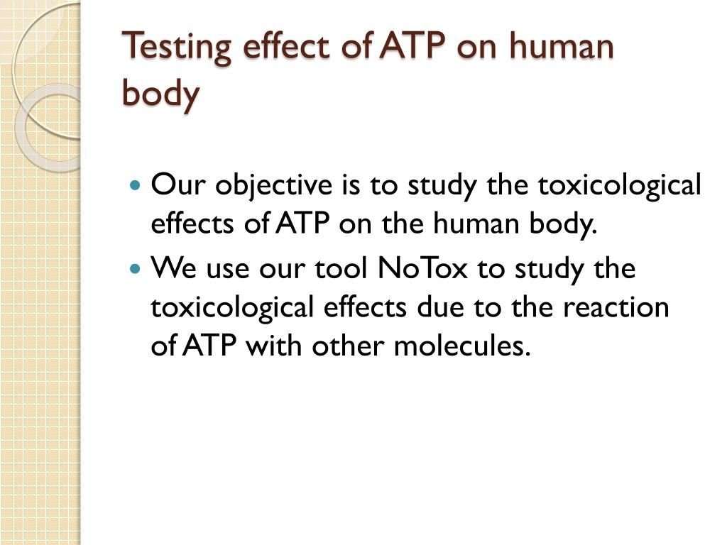 Testing effect of ATP on human body