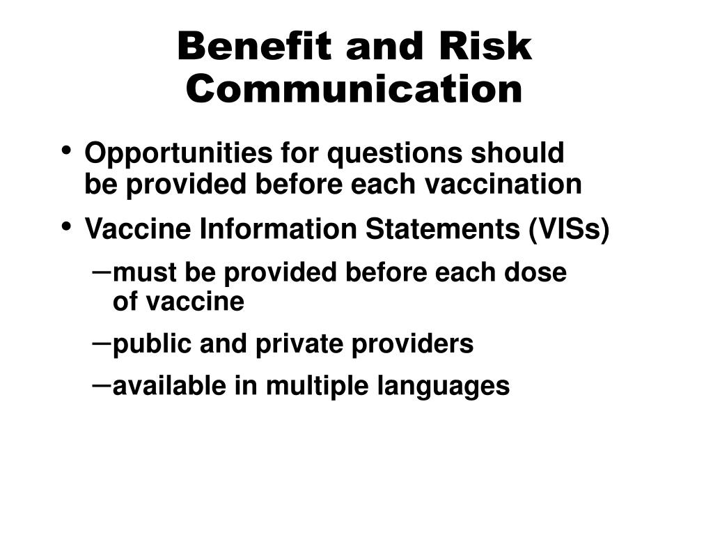Benefit and Risk Communication