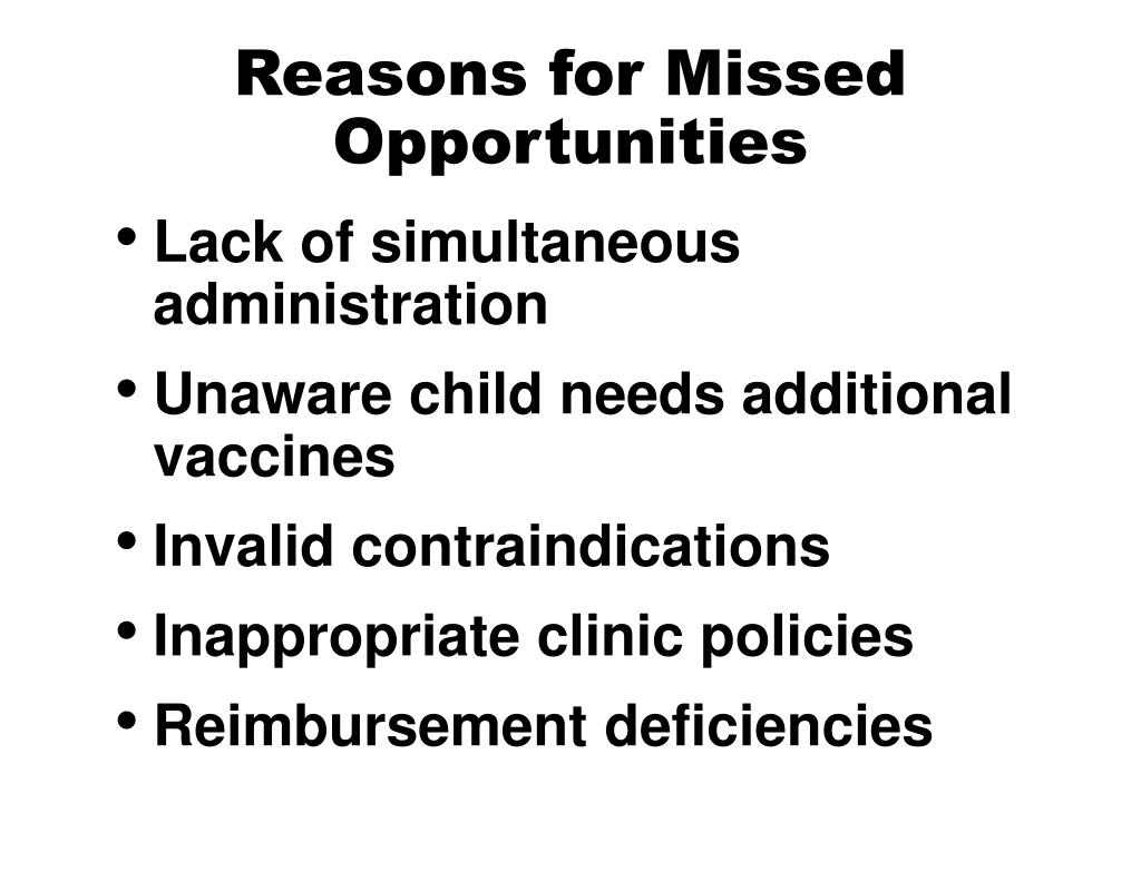 Reasons for Missed Opportunities