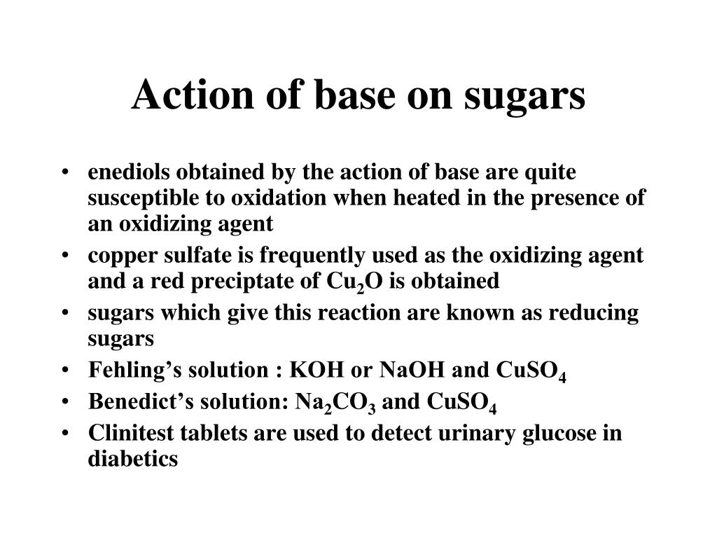 Action of base on sugars