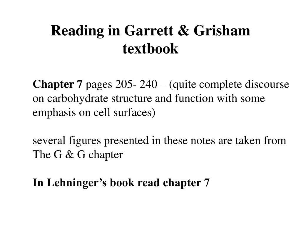 Reading in Garrett & Grisham textbook