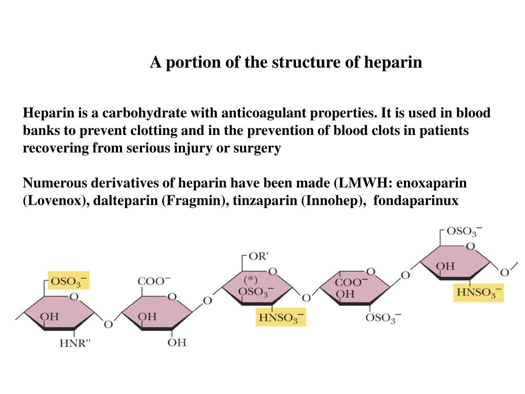 A portion of the structure of heparin