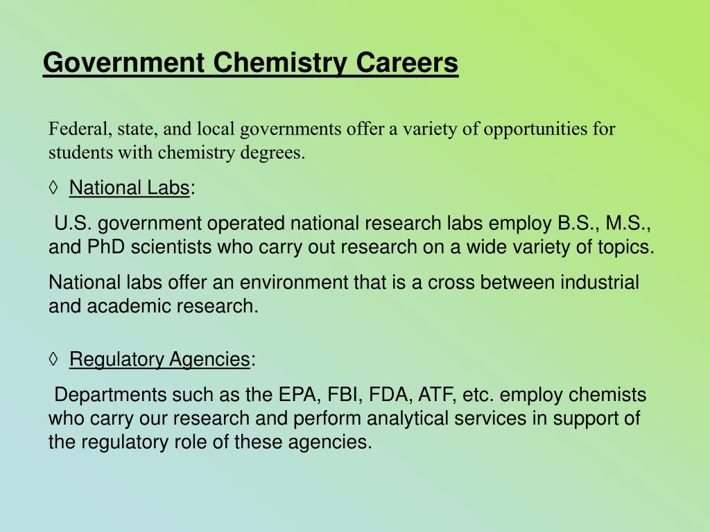 Government Chemistry Careers